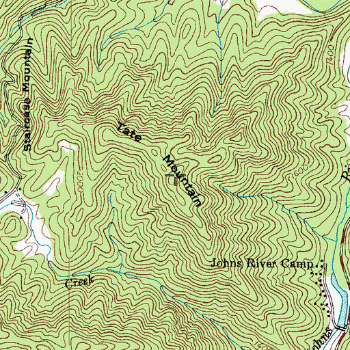 Topographic Map of Tate Mountain, NC