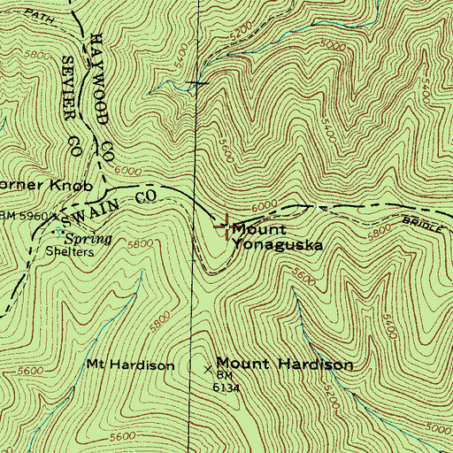 Topographic Map of Mount Yonaguska, NC