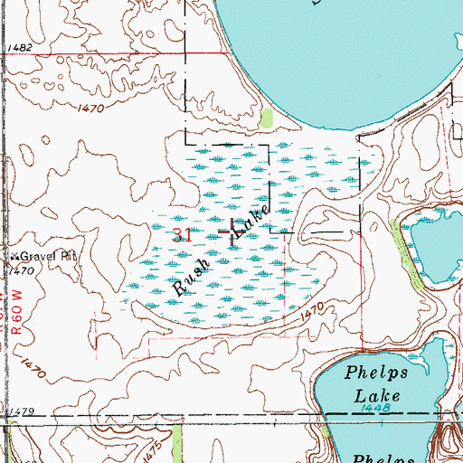 Topographic Map of Rush Lake, ND