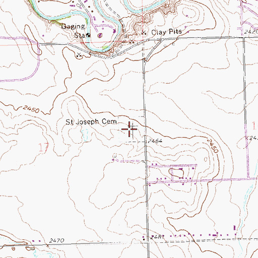 Topographic Map of Saint Joseph Cemetery, ND