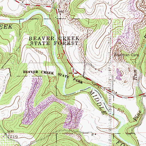 Topographic Map of Beaver Creek State Forest, OH