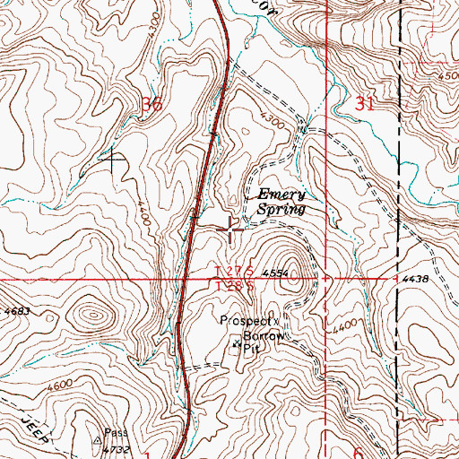Topographic Map of Emery Spring, OR