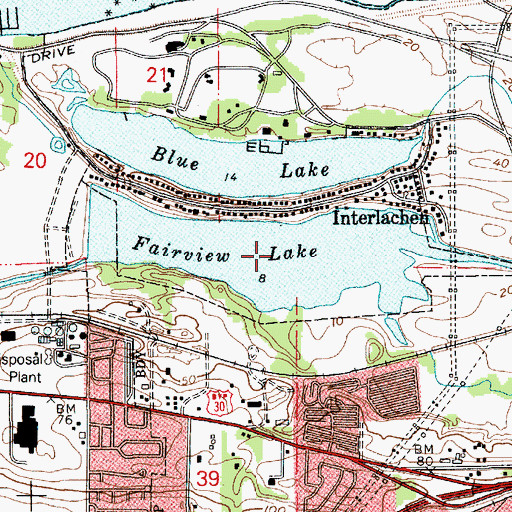 Topographic Map of Fairview Lake, OR
