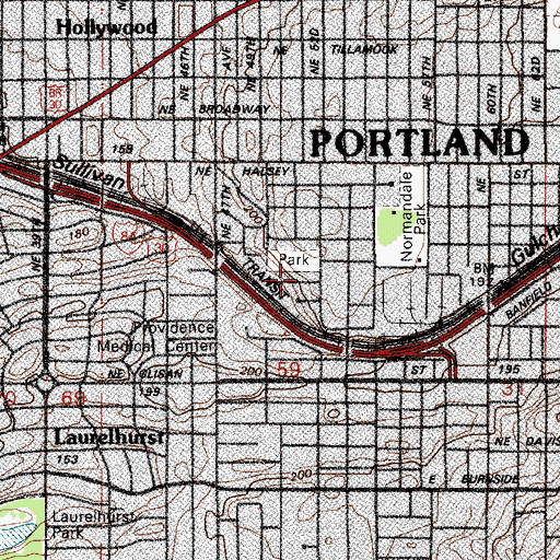 Topographic Map of Early Head Start Family Center of Portland (historical), OR