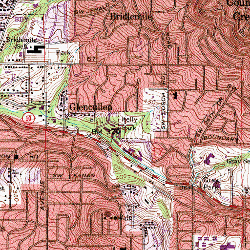 Topographic Map of Albert Kelly City Park, OR