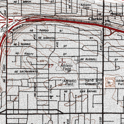 Topographic Map of Parkrose Knott Street School (historical), OR