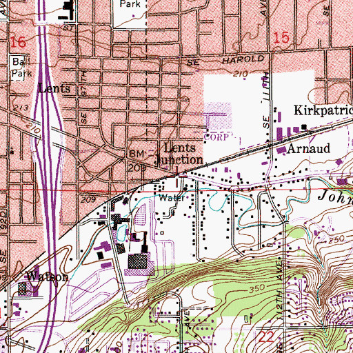 Topographic Map of Lents Junction (historical), OR