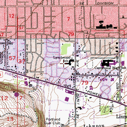 Topographic Map of Lynch Wood Elementary School, OR