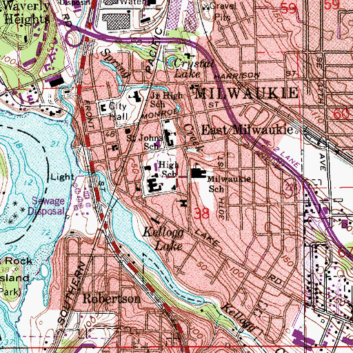 Topographic Map of Milwaukie Elementary School, OR