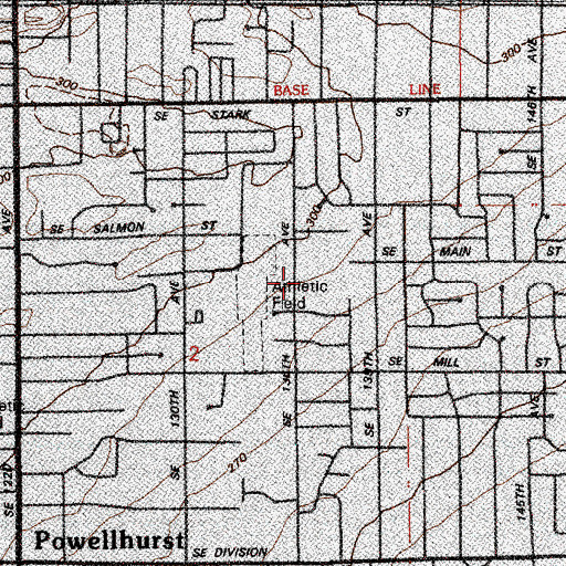 Topographic Map of David Douglas High School South Childrens Services, OR