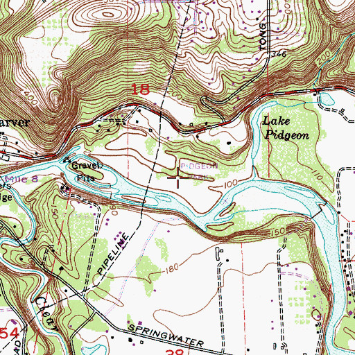 Topographic Map of Pidgeon Park, OR