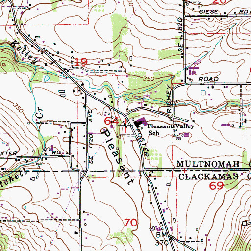 Topographic Map of Pleasant Valley Elementary School, OR