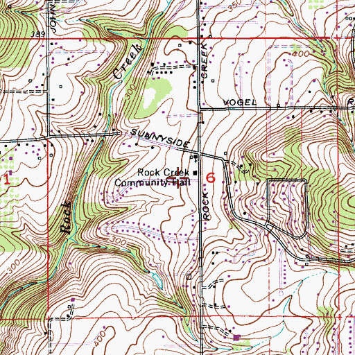 Topographic Map of Rock Creek Community Hall, OR