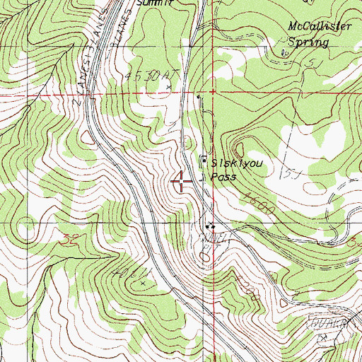 Topographic Map of Siskiyou Pass, OR