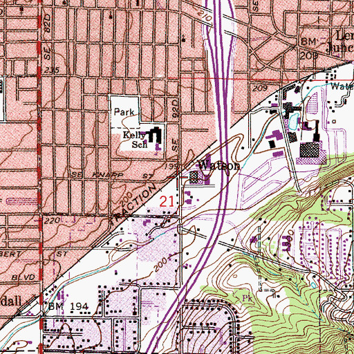 Topographic Map of Watson (historical), OR