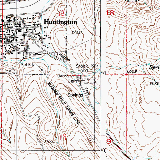 Topographic Map of Huntington Independent Order of Odd Fellows Cemetery, OR