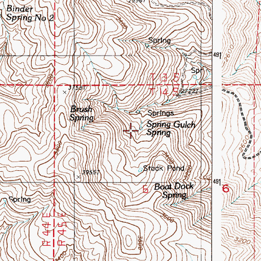 Topographic Map of Spring Gulch Spring, OR
