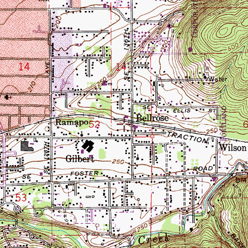 Topographic Map of Bellrose, OR