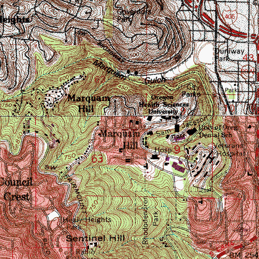 Topographic Map of Marquam Hill, OR