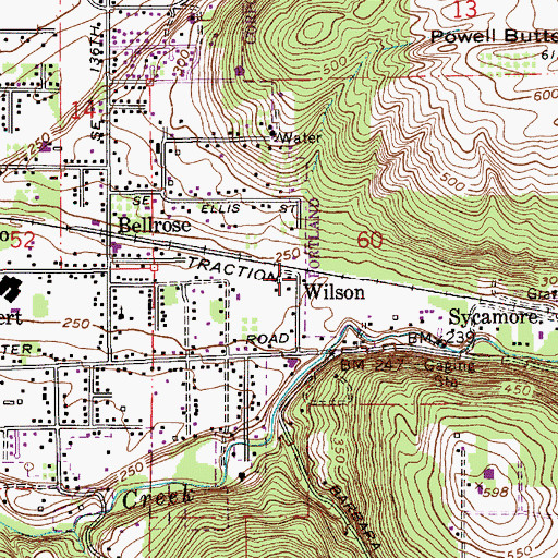 Topographic Map of Wilson (historical), OR