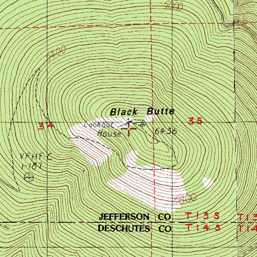 Topographic Map of Black Butte, OR