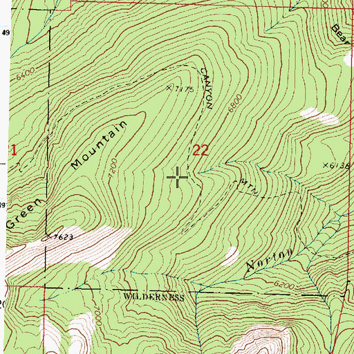 Topographic Map of Canyon Mountain Trail, OR