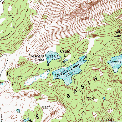 Topographic Map of Craig Lake, OR