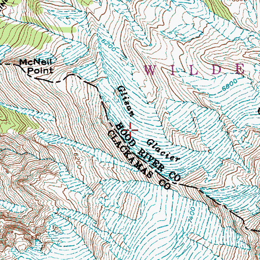 Topographic Map of Glisan Glacier, OR