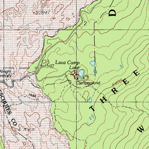 Topographic Map of Lava Camp Lake, OR