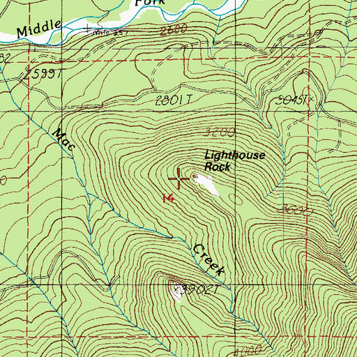 Topographic Map of Lighthouse Rock, OR