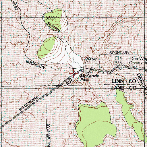 Topographic Map of McKenzie Pass, OR