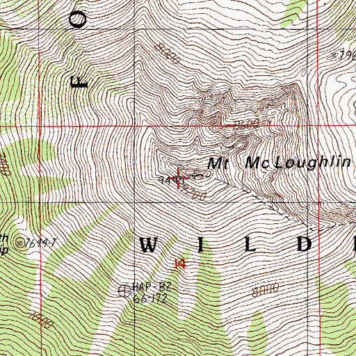 Topographic Map of Mount McLoughlin, OR