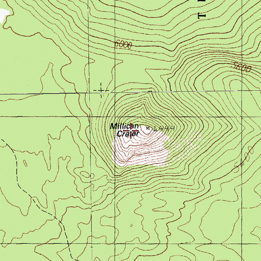 Topographic Map of Millican Crater, OR