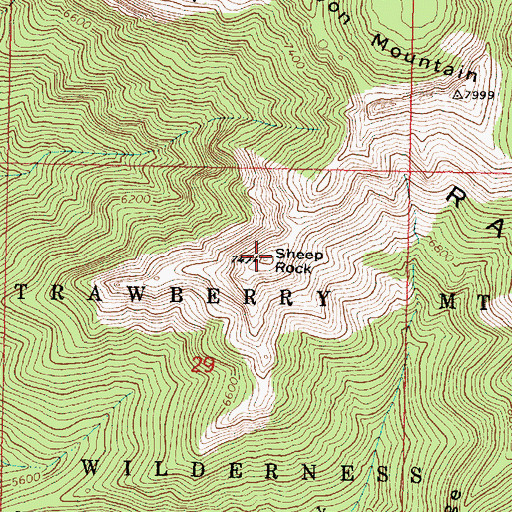 Topographic Map of Sheep Rock, OR