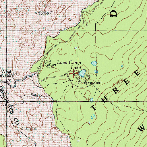 Topographic Map of Lava Camp Lake Recreation Site, OR