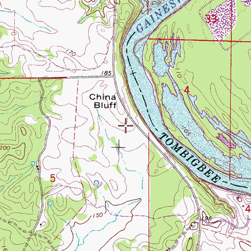 Topographic Map of China Bluff, AL