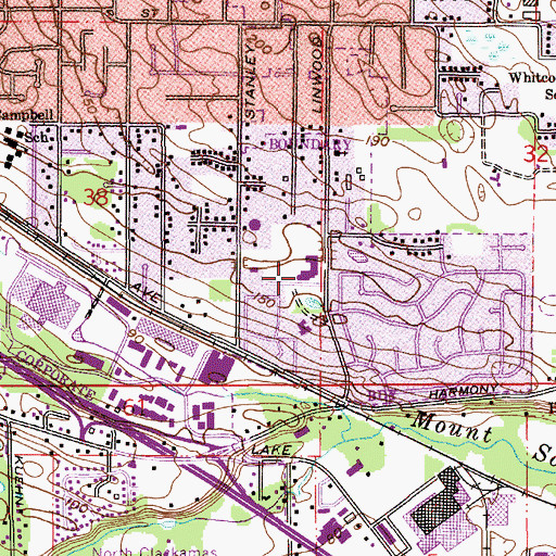 Topographic Map of Linwood Elementary School, OR