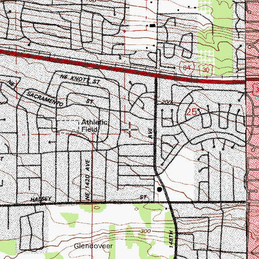 Topographic Map of Margaret Scott Elementary School, OR