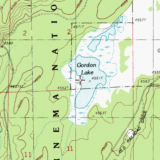 Topographic Map of Gordon Lake, OR