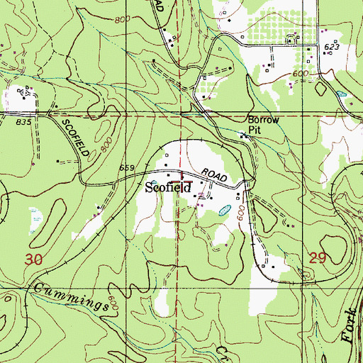 Topographic Map of Scofield, OR