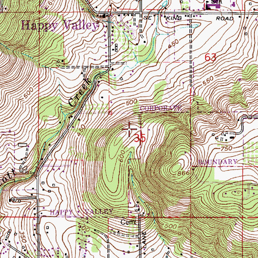 Topographic Map of Cub Airport (historical), OR