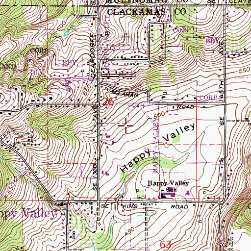 Topographic Map of Happy Valley City Park, OR