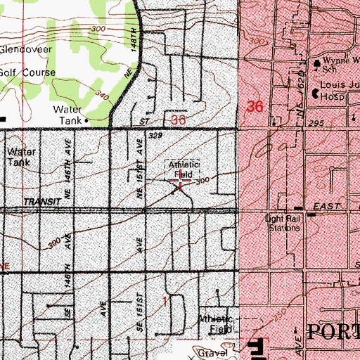 Topographic Map of Glenfair City Park, OR