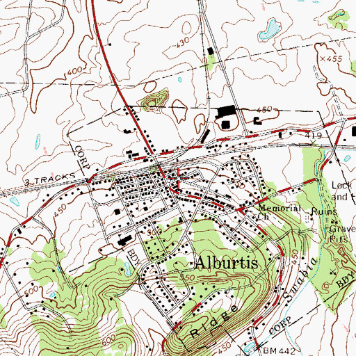 Topographic Map of Alburtis, PA