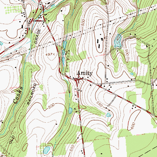 Topographic Map of Amity, PA