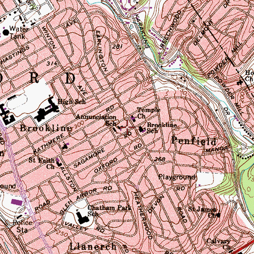 Topographic Map of Annunciation School, PA