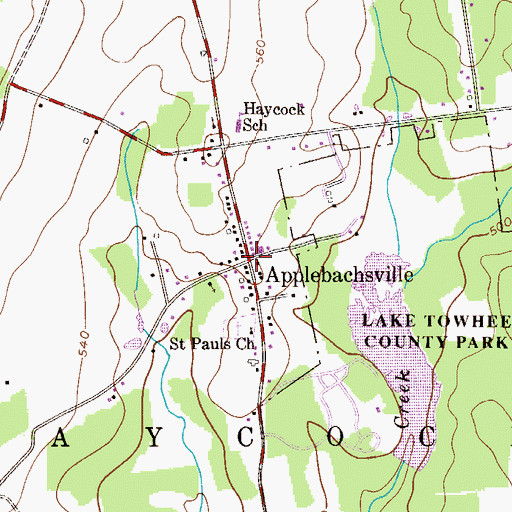 Topographic Map of Applebachsville, PA
