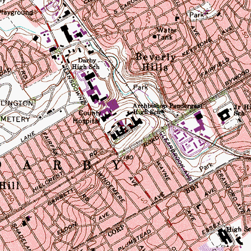 Topographic Map of Bonner Prendergast Catholic High School, PA