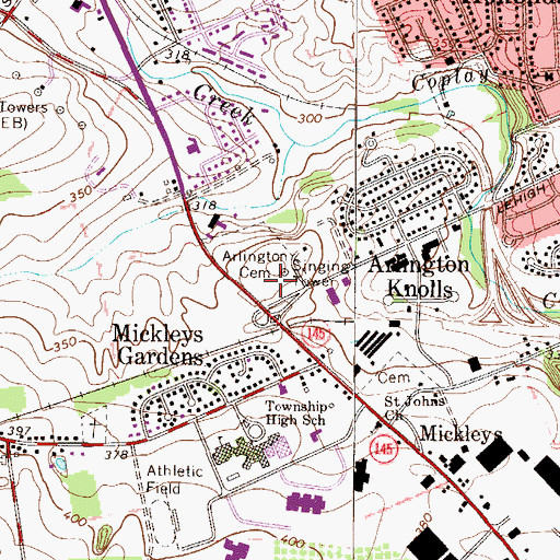 Topographic Map of Arlington Cemetery, PA