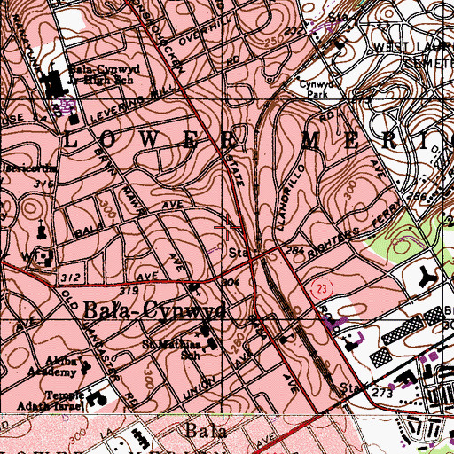 Topographic Map of Bala-Cynwyd, PA